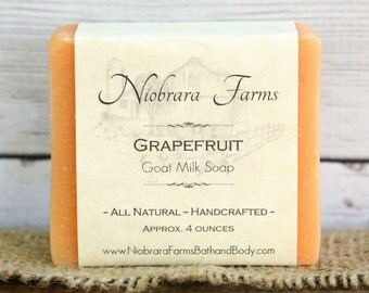 All Natural Soap - Grapefruit Goat Milk Soap - Handmade Citrus Soap - Moisturizing Soap Bar - Cold Process Soap - Handcrafted Bar Soap
