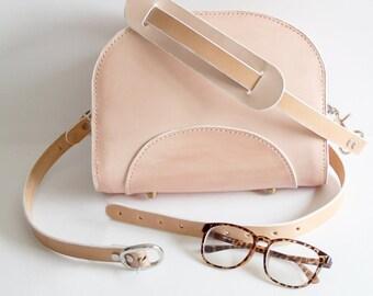 Sold-Cute Hand stitch Crossbody mini leather bag,Pink bag,structual leather bag,designer,Handmade,leather bag,shoulder bag,gift for her