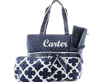 Personalized Navy Blue Quatrefoil Quilted Diaper Bag Custom Embroidered Name Monogrammed Baby Shower Gift Geometric