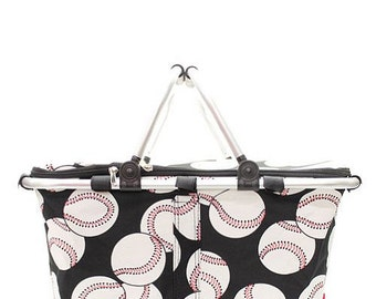 Personalized Baseball Balls Print Insulated Market Tote * Monogrammed Cooler Bag * Custom Gift