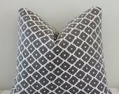 Schumacher Ziggurat Charcoal Geometric Print Cotton Pillow Cover 18x18, 20x20 Square Throw Pillow, Accent Pillow, Toss Pillow