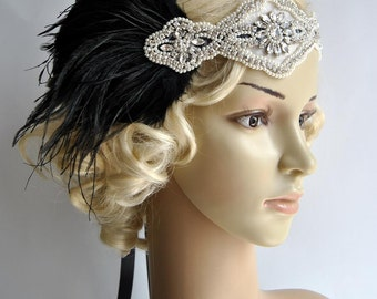 Ready to ship Rhinestone pearls feather flapper Gatsby Headband Crystal Wedding Headpiece,Bridal Headpiece,1920 Flapper headband