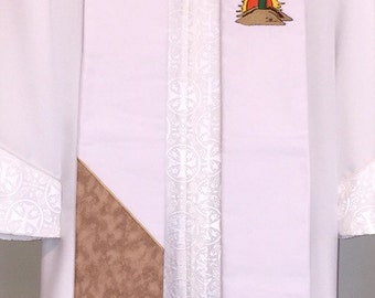 SALE - White Clergy Stole  w/ Easter Cross