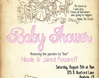 Classic Winnie The Pooh Baby Shower Invitation (DIGITAL COPY)