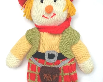 Hand Knitted Scotty and Haggis Ornament/Scottish/Tartan/Home Decor/Traditional/Scotland/Sporran/Scotsman in a Kilt/Gift for a Man or Woman