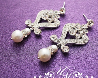 Wedding Jewelry Wedding Earrings Bridal Earrings Bridesmaids earrings Rhinestone earrings Dangle Earrings Pearl Earrings Vintage - ADDY