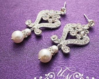 Wedding Jewelry Wedding Earrings Bridal Earrings Bridesmaids earrings Rhinestone earrings Dangle Earrings Pearl Earrings Vintage - ADDY