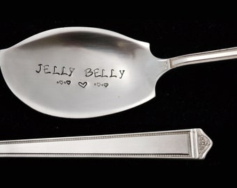 Hand Stamped Vintage Jelly Spreader Knife, Jelly Belly , Personalized Silverware, Hostess House Warming Gift, Butter Knife
