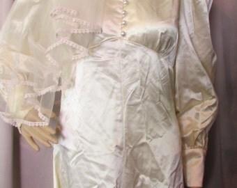 LAST CALL! 1970 Era Wedding Gown Dress Juliet Cap Veil Candlelight Satin Home Tailored