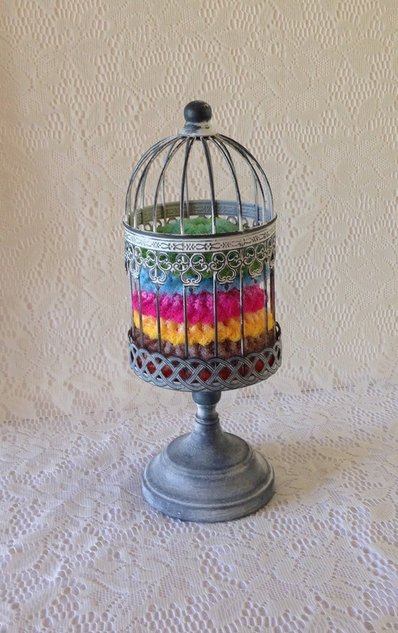 Nylon pot scrubber bird cage gift set by