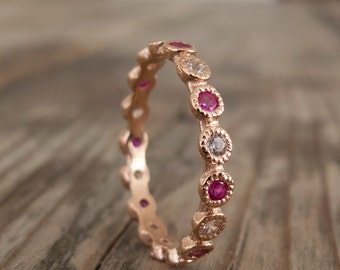 Ruby Eternity ring - White zircon - July birthstone - Red stone gold ring