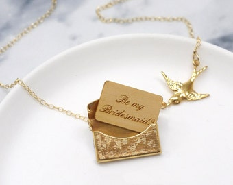 Will You Be My Bridesmaid Gift, Be My Bridesmaid Necklace, Gold Locket Necklace, Personalised Bridesmaid Mini Love Letter Necklace