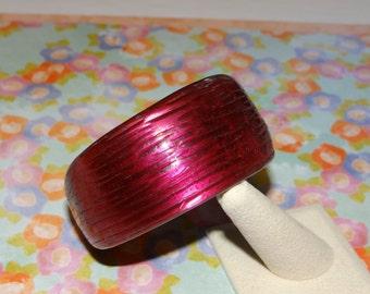 Cranberry Vintage Asymmetrical Bangle Bracelet Ribbed Bold Chunky