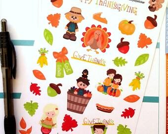 Thanksgiving, Fall, Fits Erin Condren®, Planner Stickers, Kiss Cut, Calendar Stickers, Life Planner™ Stickers, Scrapbooking, Turkey, Harvest