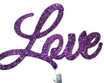 Love Wedding Cake Topper - PURPLE- valentines anniversary birthday