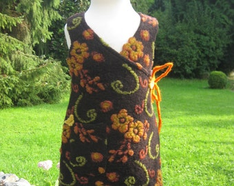 Wrap-dress for girls in organic wool