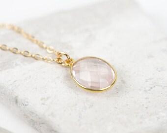 Rose Quartz Necklace, Gold gemstone Necklace