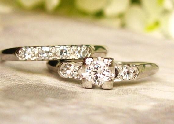 Art Deco Platinum Engagement Ring Set By LadyRoseVintageJewel