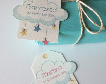 """Baptism Favor Box Tags """"Cloud And STAR"""""""