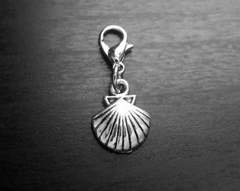 Seashell Dangle Charm for Floating Lockets or Zipper Pull-Clam Charm-Antique Silver-Gift Idea