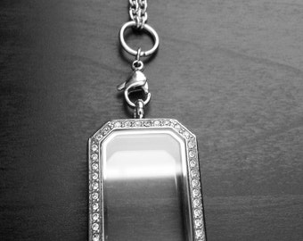 Heritage Floating Locket-Stainless Steel-Clear Crystal Face-Option to Add Maching Chain-Gift Idea for Women
