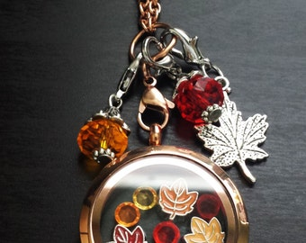 Fall Floating Charm Locket Necklace-Includes Locket, Chain, Charms, and Dangles-Gift Idea
