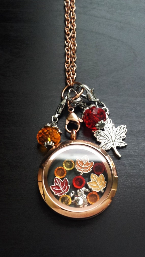fall floating charm locket necklace includes locket chain