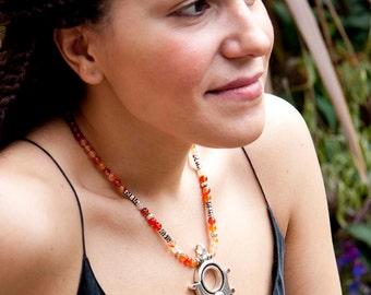 Tuareg silver and agate tanfouk pendant necklace