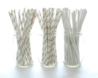 Silver Paper Straws, Wedding Party Drinking Straws, Long Paper Straws, 75 Pack - Silver Gray Stripe, Chevron & Polka Dot Party Straws