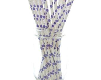 Purple Paper Straws, Biodegradable Straws, Drink Stir Sticks, Environmentally Friendly Straws, 25 Pack - Purple Polka Dot Straws