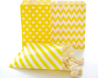 Yellow Paper Bags, Birthday Party Favor Bags, Candy Buffet Bags, Yellow Gift Bags, 75 Pack - Yellow Striped, Chevron & Polka Dot Paper Bags
