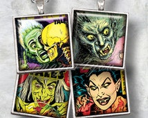 "Horror Comics 1"" square images 1x1 inch retro Halloween digital collage sheet 1.5"", 7/8"" Scrabble tiles pendants printable download cabochon"