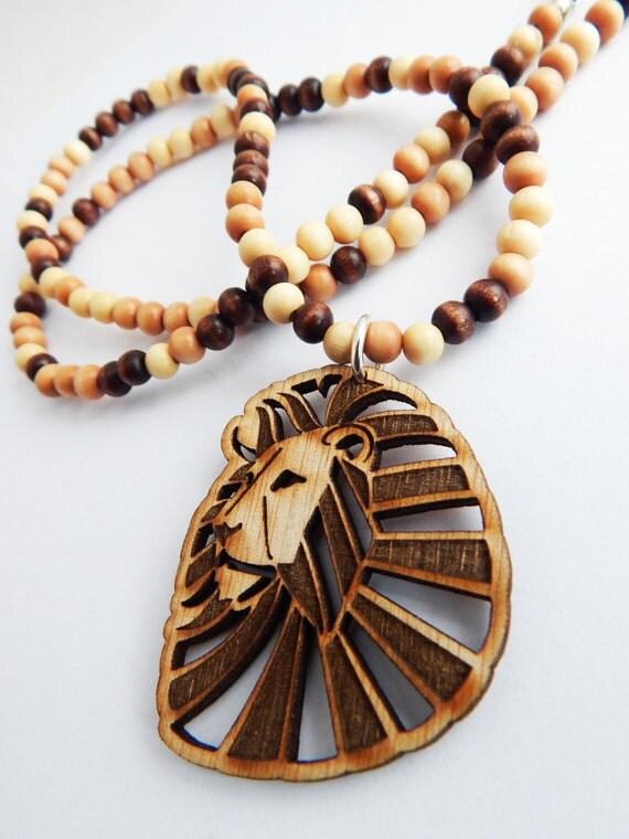 Lion Necklace Animal Jewelry Lion Pendant Mens Necklaces Wood
