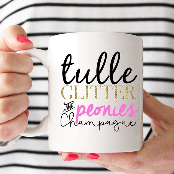 Tulle Glitter Peonies Champagne Coffee Cup - Coffee Mug - Unique Gift - Birthday - Mothers Day - Christmas - Gifts for Her - Inspirational