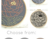 Embroidery kit, peony embroidery pattern, beginner needlecraft kit, modern embroidery patterns, DIY hoop art, coral and grey, gift for her