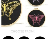 DIY butterfly embroidery kit, modern hand embroidery patterns, embroidery hoop art, insect needlecraft pattern, DIY girls room decor