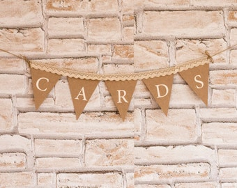 Cards Sign, Cards Banner, Wedding Banner, Cards Sign, Reception Banner, Bunting Cards Banner, Rustic Cards Banner
