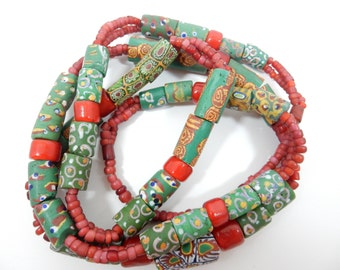 Vintage African Trade Beads, Venetian Glass Necklace, Millefiori Necklace, Artisan Bead Necklace, Antique Trade Bead, Tribal Boho Necklace