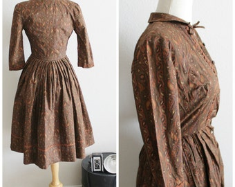 Vintage 50's Brown Paisley Cotton Rick Rack Petticoat Crinoline Fit and Flare Dress XXS/XS