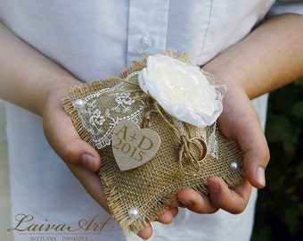 Personalized / Rustic / Wedding / Ring  Pillow / Burlap / Ring Bearer Pillow / Country Wedding