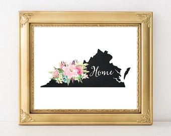 Virginia State Print 4x6 5x7 8x10 Instant Download Virginia Printable Art State Silhouette Virginia Map Print Home Nursery State Decor Pink