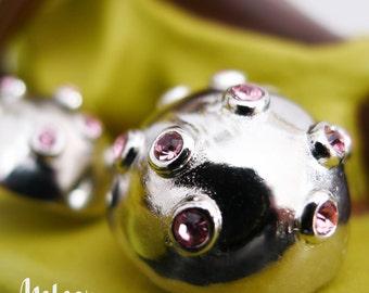 The Moonlite Sputnik, Pink Vintage Inspired Earrings