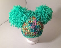 Lime Green Rainbow Double Pom Pom hat fits adult