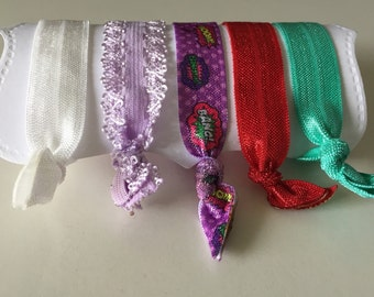 Set of 5 Hair Ties, for All Ages, elastic knotted hair ties, wont damage hair, crease, or slip! Superhero set