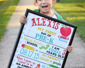 First Day of School Sign, Back to School, 1st day of school, Memory, Digital File and print option 8x10 or 16x20