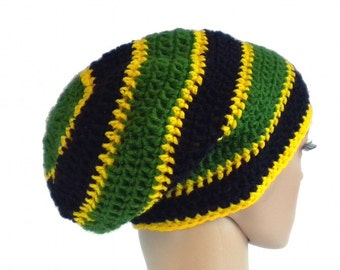 Jamaica beanie, dreadlock rasta tam, oversized slouchy boho hat, dreadlock accessories, rasta crown