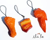 Keychain meat, bacon, chicken, fast food, gift a man, guy, food jewelry, faux food, fried chicken suspension, Unusual, mini food jewelry