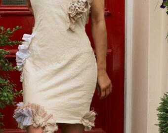Off White Ruffle Jersey Dress - All sizes
