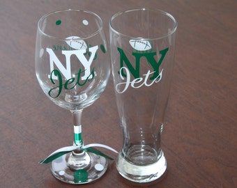 New York Jets, Football, Sports Glassware for the Jets Fan, NY Jets Gifts