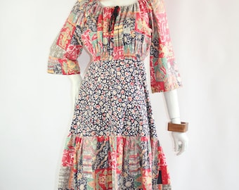 Vintage 1970s patchwork cotton midi dress // boho // hippie
